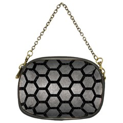 HEXAGON2 BLACK MARBLE & GRAY METAL 1 (R) Chain Purses (Two Sides)
