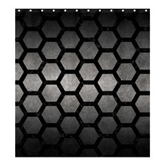HEXAGON2 BLACK MARBLE & GRAY METAL 1 (R) Shower Curtain 66  x 72  (Large)