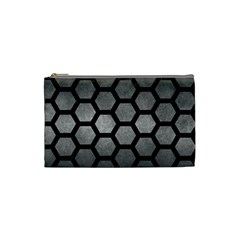 HEXAGON2 BLACK MARBLE & GRAY METAL 1 (R) Cosmetic Bag (Small)