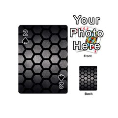 HEXAGON2 BLACK MARBLE & GRAY METAL 1 (R) Playing Cards 54 (Mini)