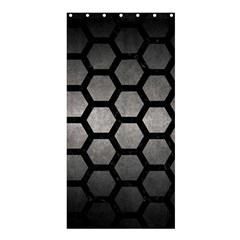HEXAGON2 BLACK MARBLE & GRAY METAL 1 (R) Shower Curtain 36  x 72  (Stall)