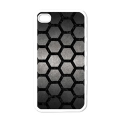 HEXAGON2 BLACK MARBLE & GRAY METAL 1 (R) Apple iPhone 4 Case (White)