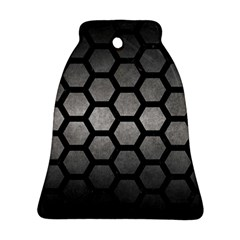 HEXAGON2 BLACK MARBLE & GRAY METAL 1 (R) Bell Ornament (Two Sides)