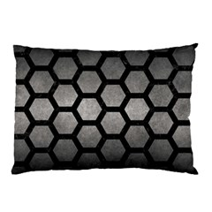 HEXAGON2 BLACK MARBLE & GRAY METAL 1 (R) Pillow Case (Two Sides)