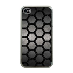 HEXAGON2 BLACK MARBLE & GRAY METAL 1 (R) Apple iPhone 4 Case (Clear)