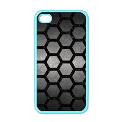 HEXAGON2 BLACK MARBLE & GRAY METAL 1 (R) Apple iPhone 4 Case (Color)