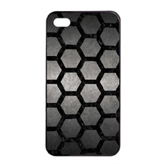 HEXAGON2 BLACK MARBLE & GRAY METAL 1 (R) Apple iPhone 4/4s Seamless Case (Black)