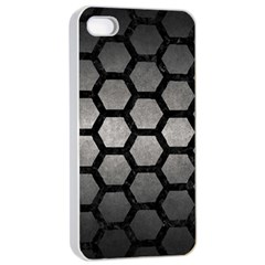 HEXAGON2 BLACK MARBLE & GRAY METAL 1 (R) Apple iPhone 4/4s Seamless Case (White)