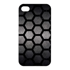 HEXAGON2 BLACK MARBLE & GRAY METAL 1 (R) Apple iPhone 4/4S Hardshell Case