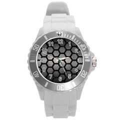 HEXAGON2 BLACK MARBLE & GRAY METAL 1 (R) Round Plastic Sport Watch (L)