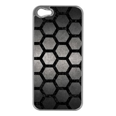 HEXAGON2 BLACK MARBLE & GRAY METAL 1 (R) Apple iPhone 5 Case (Silver)