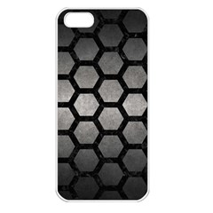 HEXAGON2 BLACK MARBLE & GRAY METAL 1 (R) Apple iPhone 5 Seamless Case (White)