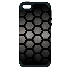 HEXAGON2 BLACK MARBLE & GRAY METAL 1 (R) Apple iPhone 5 Hardshell Case (PC+Silicone)