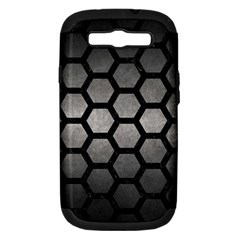 HEXAGON2 BLACK MARBLE & GRAY METAL 1 (R) Samsung Galaxy S III Hardshell Case (PC+Silicone)