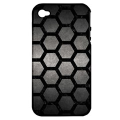 HEXAGON2 BLACK MARBLE & GRAY METAL 1 (R) Apple iPhone 4/4S Hardshell Case (PC+Silicone)