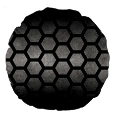 HEXAGON2 BLACK MARBLE & GRAY METAL 1 (R) Large 18  Premium Round Cushions