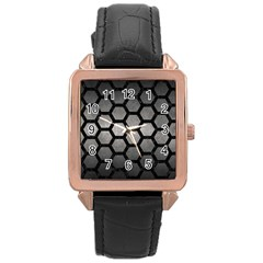 HEXAGON2 BLACK MARBLE & GRAY METAL 1 (R) Rose Gold Leather Watch