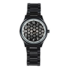 HEXAGON2 BLACK MARBLE & GRAY METAL 1 (R) Stainless Steel Round Watch