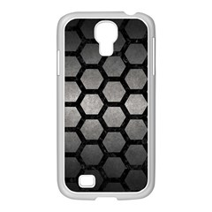 Hexagon2 Black Marble & Gray Metal 1 (r) Samsung Galaxy S4 I9500/ I9505 Case (white) by trendistuff