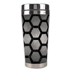 HEXAGON2 BLACK MARBLE & GRAY METAL 1 (R) Stainless Steel Travel Tumblers