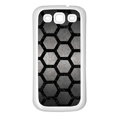 HEXAGON2 BLACK MARBLE & GRAY METAL 1 (R) Samsung Galaxy S3 Back Case (White)