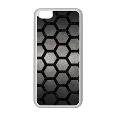 HEXAGON2 BLACK MARBLE & GRAY METAL 1 (R) Apple iPhone 5C Seamless Case (White)