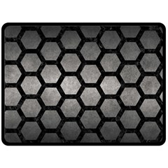 HEXAGON2 BLACK MARBLE & GRAY METAL 1 (R) Double Sided Fleece Blanket (Large)