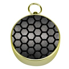 HEXAGON2 BLACK MARBLE & GRAY METAL 1 (R) Gold Compasses