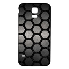 HEXAGON2 BLACK MARBLE & GRAY METAL 1 (R) Samsung Galaxy S5 Back Case (White)