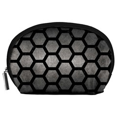 HEXAGON2 BLACK MARBLE & GRAY METAL 1 (R) Accessory Pouches (Large)
