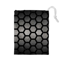 HEXAGON2 BLACK MARBLE & GRAY METAL 1 (R) Drawstring Pouches (Large)