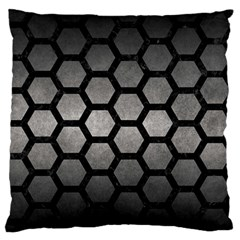 HEXAGON2 BLACK MARBLE & GRAY METAL 1 (R) Large Flano Cushion Case (Two Sides)