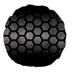 HEXAGON2 BLACK MARBLE & GRAY METAL 1 (R) Large 18  Premium Flano Round Cushions