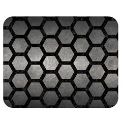 HEXAGON2 BLACK MARBLE & GRAY METAL 1 (R) Double Sided Flano Blanket (Medium)