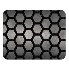 HEXAGON2 BLACK MARBLE & GRAY METAL 1 (R) Double Sided Flano Blanket (Large)
