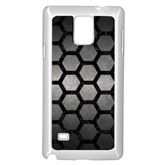HEXAGON2 BLACK MARBLE & GRAY METAL 1 (R) Samsung Galaxy Note 4 Case (White)