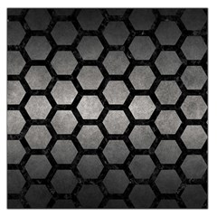 HEXAGON2 BLACK MARBLE & GRAY METAL 1 (R) Large Satin Scarf (Square)