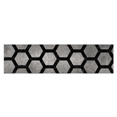 HEXAGON2 BLACK MARBLE & GRAY METAL 1 (R) Satin Scarf (Oblong)