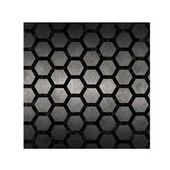 HEXAGON2 BLACK MARBLE & GRAY METAL 1 (R) Small Satin Scarf (Square)