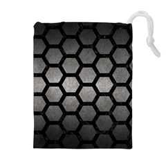 HEXAGON2 BLACK MARBLE & GRAY METAL 1 (R) Drawstring Pouches (Extra Large)