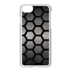 HEXAGON2 BLACK MARBLE & GRAY METAL 1 (R) Apple iPhone 7 Seamless Case (White)