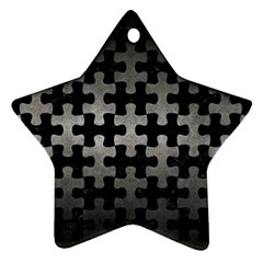 Puzzle1 Black Marble & Gray Metal 1 Ornament (star) by trendistuff