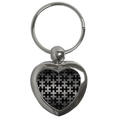 Puzzle1 Black Marble & Gray Metal 1 Key Chains (heart)  by trendistuff