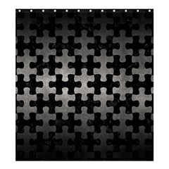 Puzzle1 Black Marble & Gray Metal 1 Shower Curtain 66  X 72  (large)