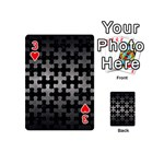 PUZZLE1 BLACK MARBLE & GRAY METAL 1 Playing Cards 54 (Mini)  Front - Heart3