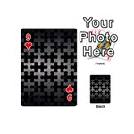 PUZZLE1 BLACK MARBLE & GRAY METAL 1 Playing Cards 54 (Mini)  Front - Heart9