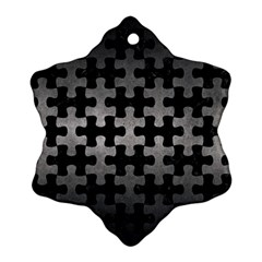 Puzzle1 Black Marble & Gray Metal 1 Snowflake Ornament (two Sides) by trendistuff