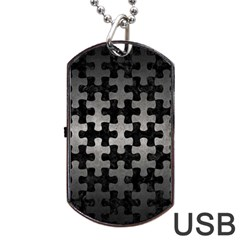 Puzzle1 Black Marble & Gray Metal 1 Dog Tag Usb Flash (one Side) by trendistuff