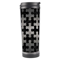 Puzzle1 Black Marble & Gray Metal 1 Travel Tumbler by trendistuff