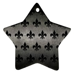 Royal1 Black Marble & Gray Metal 1 Star Ornament (two Sides) by trendistuff